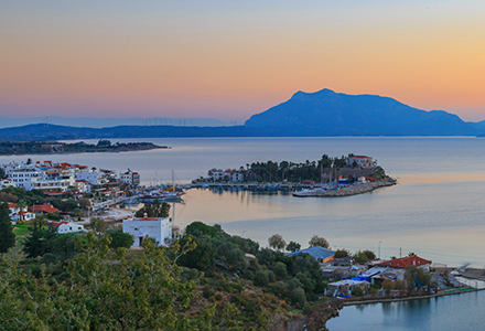 Datca cityscape with lake a seaside town in Mugla Turkey