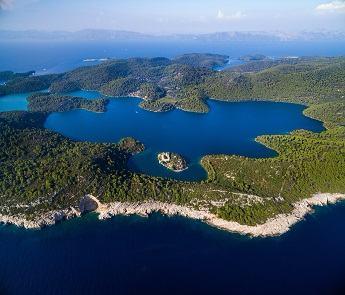 Aerial view of Mljet Lake