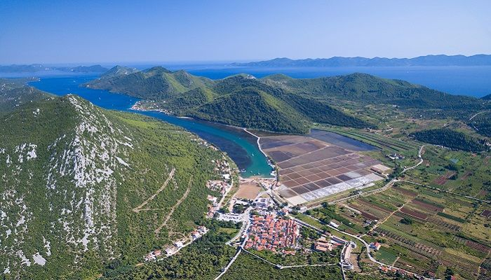 Aerial view of saltworks in Peljesac