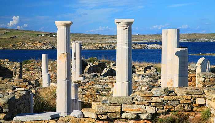 'Cleopatra's House' and the ruins of Delos towards the shore-compressed