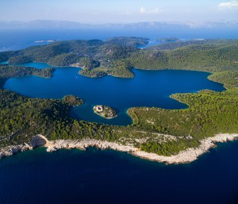 Aerial view of Mljet Lake with Monastery of Saint Mary, Croatia.