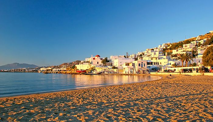 Mykonos Beach at sunset