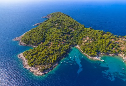 Rocky beach on Elaphites island Kolocep - Dubrovnik archipelago