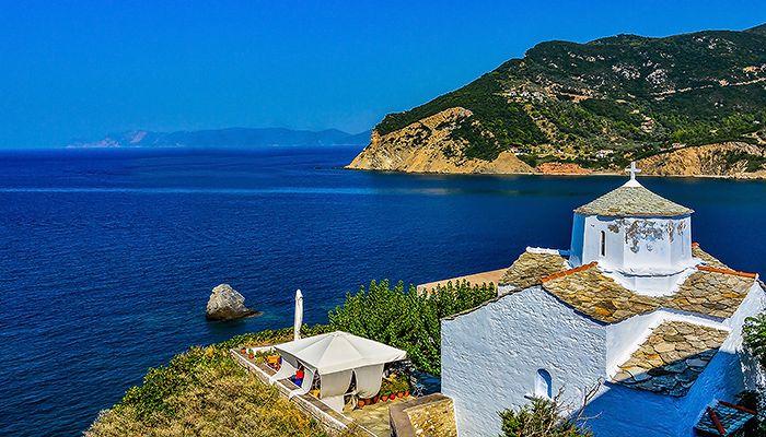 White church in Skopelos