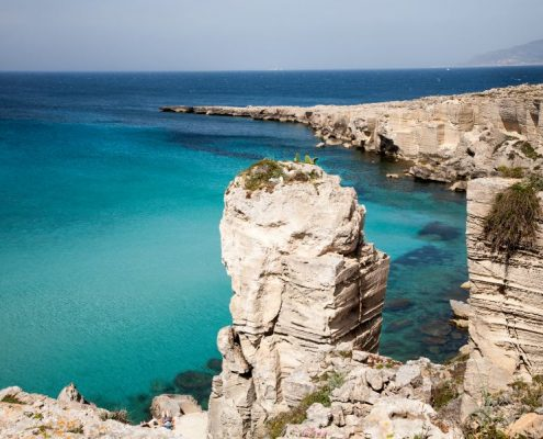 A view on the Cala Rossa a famous bay on the island of Favignana near Trapani in Sicily Italy