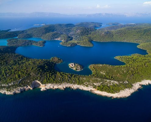 Aerial view of Mljet Lake with Monastery of Saint Mary, Croatia.