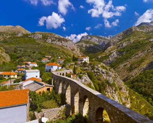 Aqueduct in Bar Old Town - Montenegro - nature and architecture