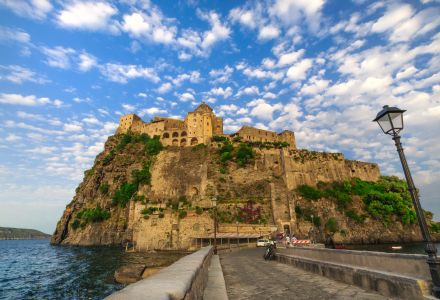 Beautifil view on Aragonese castle at sunse
