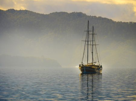Boat cruising in sea of Marmaris, Turkey