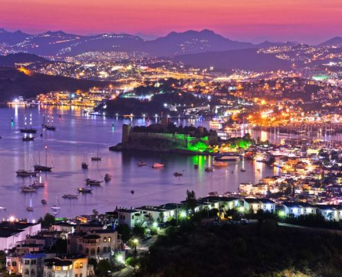 Bodrum harbor and Castle of St. Peter by night