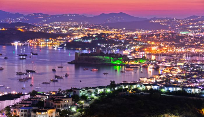 Bodrum harbor and Castleby night