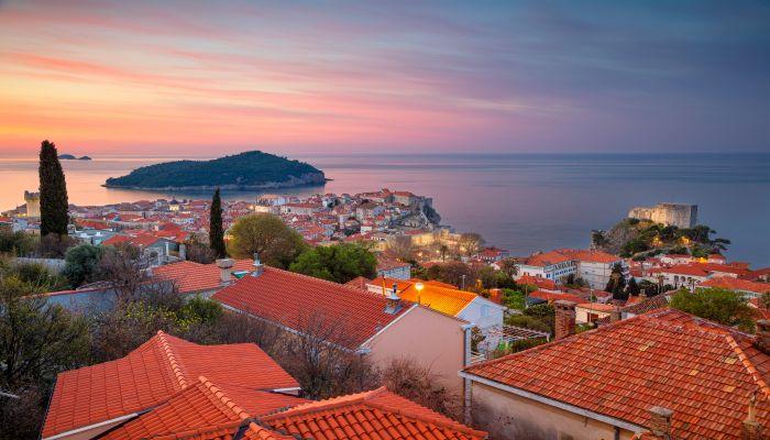Dubrovnik, Croatia. Beautiful romantic old town of Dubrovnik during sunrise.