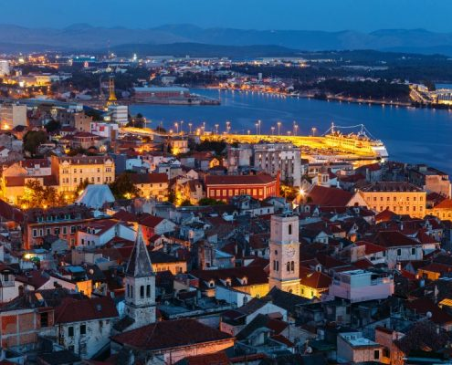 Evening view from above the old town of Sibenik in Croatia from the St. Michael's fortress.