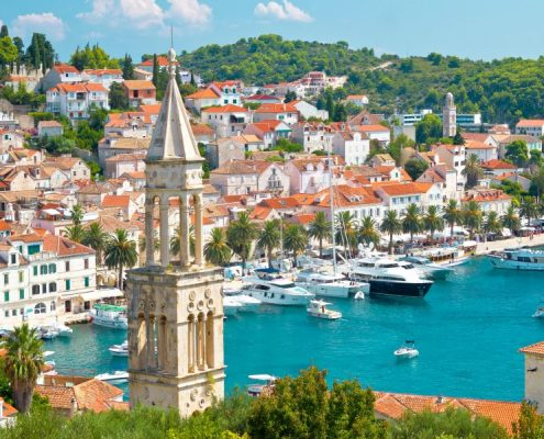 Amazing town of Hvar harbor