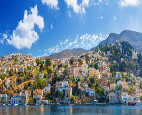 Panoramic view of the coast the island of Symi, Greece