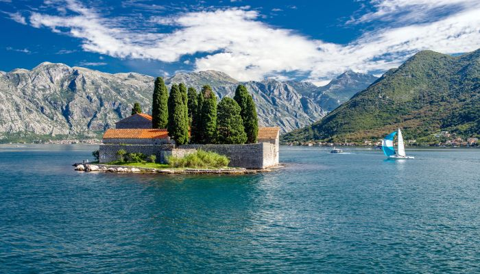 Perast insulae Santa George in Montenegro on the Adriatic Sea in Montenegro on the Adriatic Sea