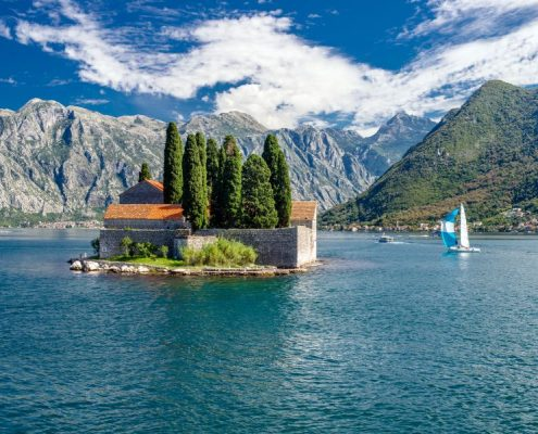 Perast.insulae Santa George in Montenegro on the Adriatic Sea in Montenegro on the Adriatic Sea