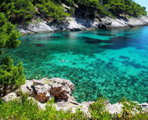 Scenic view of Adriatic sea bay in Croatia, island Korcula snorkeling