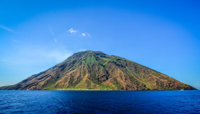 Stromboli Volcanic Island In Lipari Viewed From The Ocean, Sicil