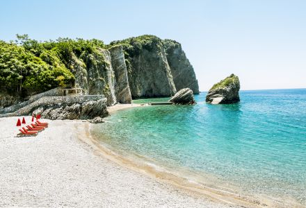 The Beach And The Cliffs On The Island Of St. Nicholas In Budva,