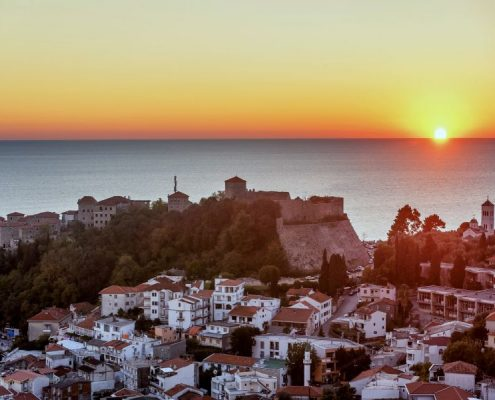 "The Old Town Of Ulcinj City ''stari Grad"" In The Sunset, Montene"