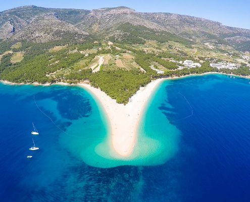 Aerial view of Zlatni Rat beach close to the town of Bol on the Brac