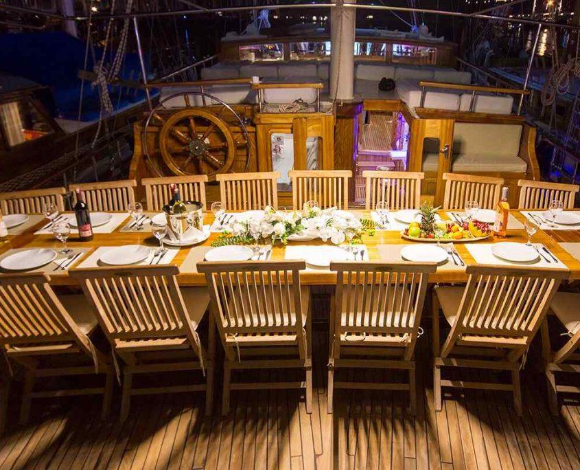 HERA Dining area on Aft deck