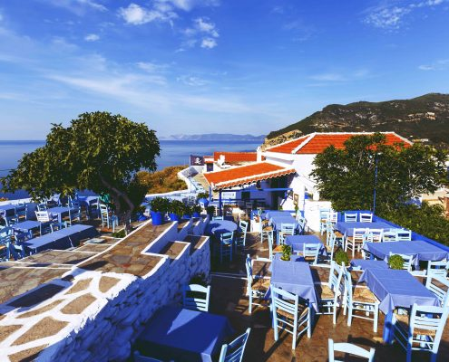 SKOPELOS, GREECE - Restaurant on the castle hill in Skopelos town, Greece