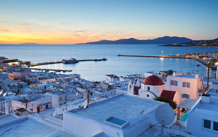 View-of-Mykonos-town-and-Tinos-island-in-the-distance-Greece.