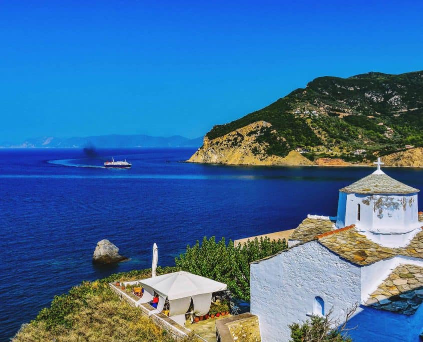 White church in Skopelos, Skopelos island, Greece
