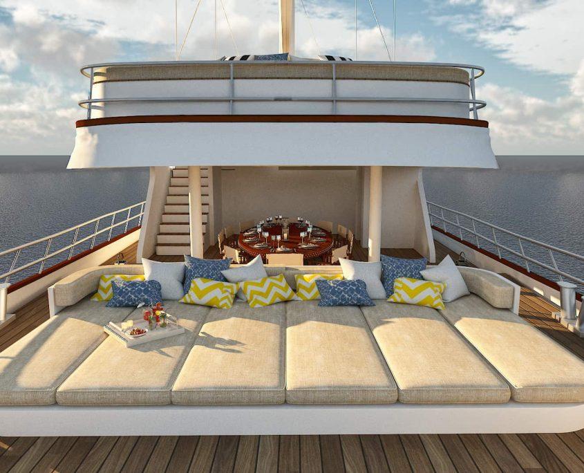 LADY GITA Lounge area on Aft deck