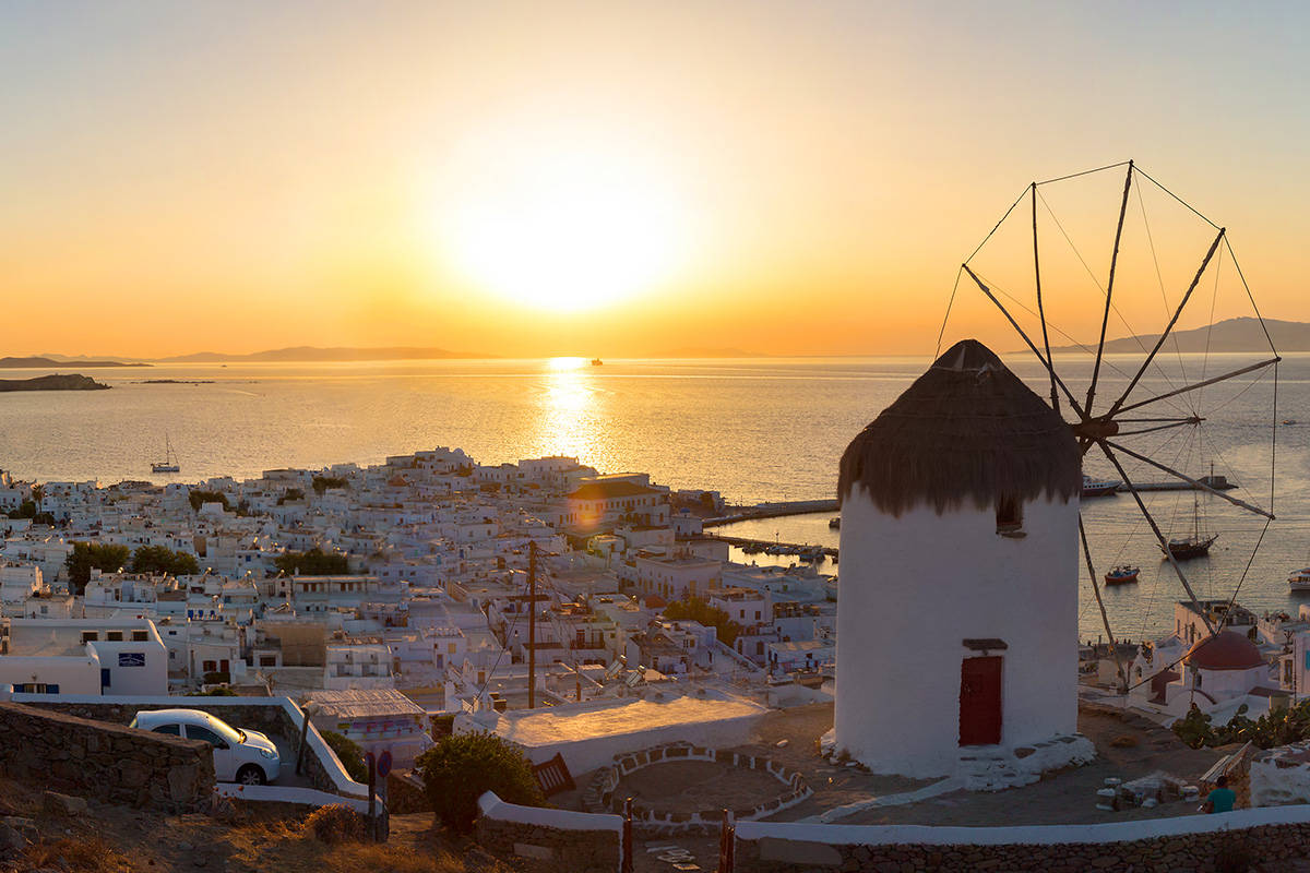 Panoramic view over Mykonos town at sunset