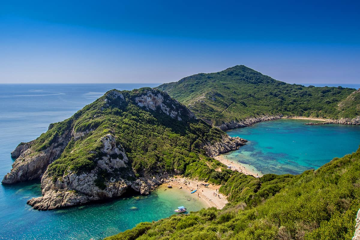 Porto Timoni beach on Corfu Greek island