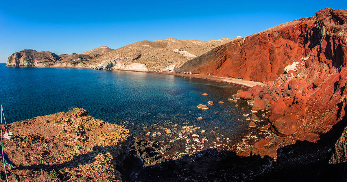 Image of unusual and unique Red beach on Santorini Greece