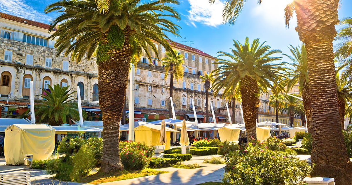 Split main waterfront walkway palms and architecture Dalmatia Croatia, Riva is famous walkway of Split