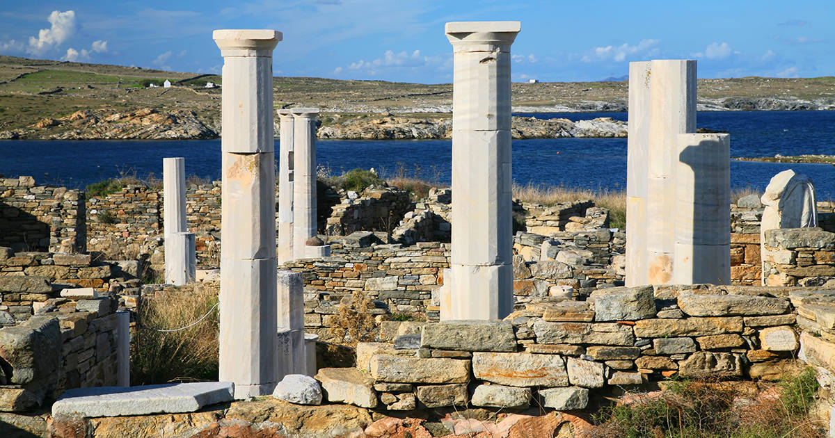 View overlooking 'Cleopatra's House' and the ruins of Delos towards the shore