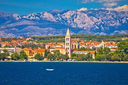Zadar waterfront view from the sea Dalmatia Croatia